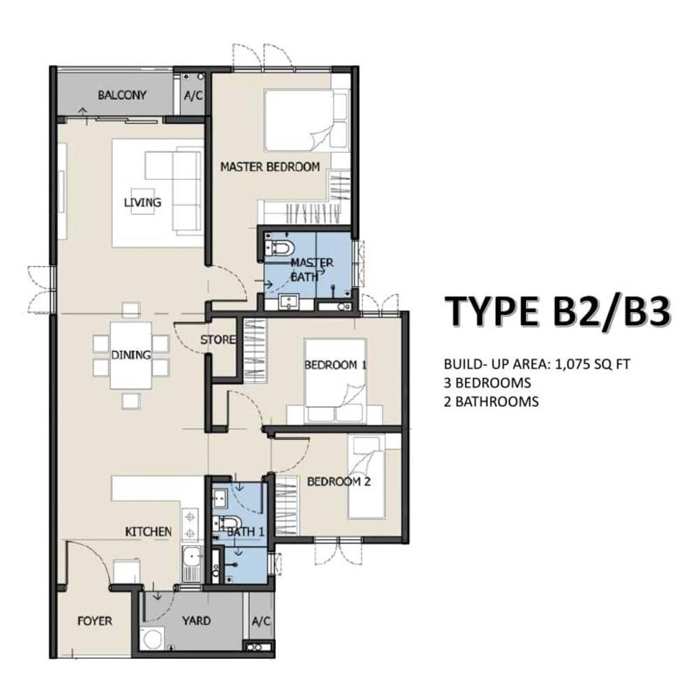 The Hermington Type B2/B3 Floor Plan