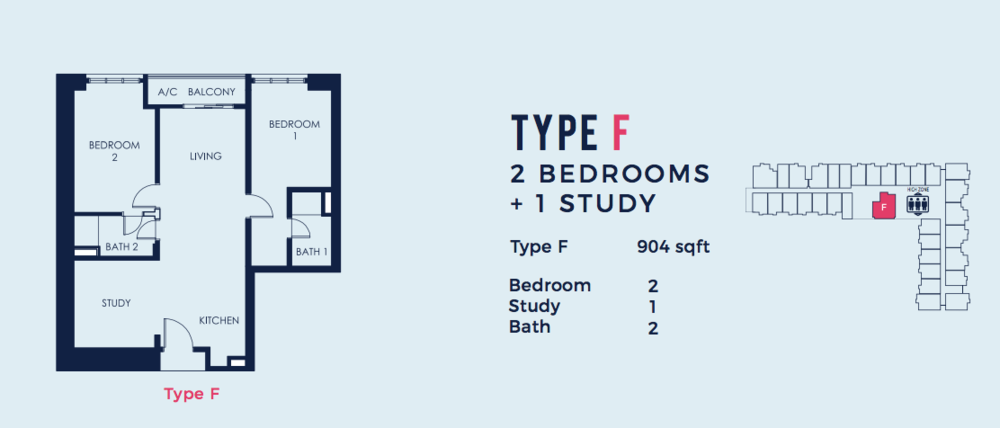 South Link Lifestyle Apartments Type F Floor Plan