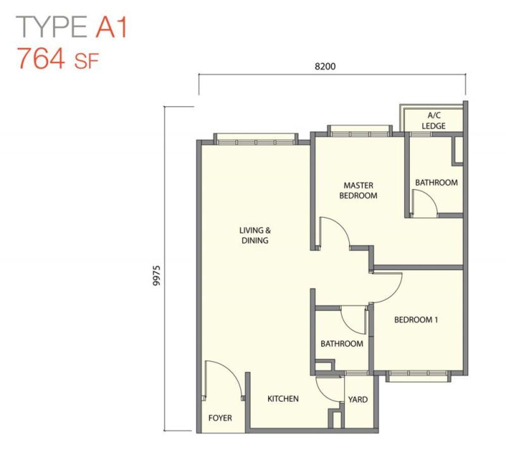 Zentro Residences Type A1 Floor Plan