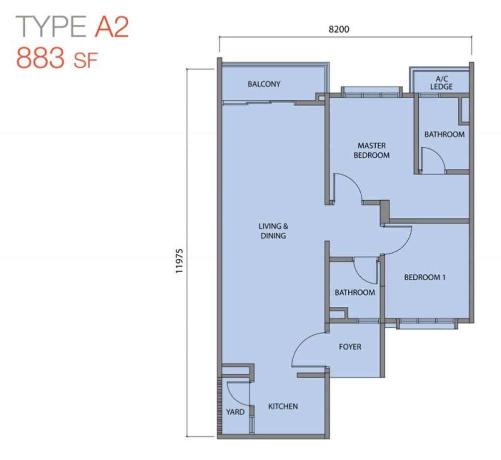 Zentro Residences Type A2 Floor Plan