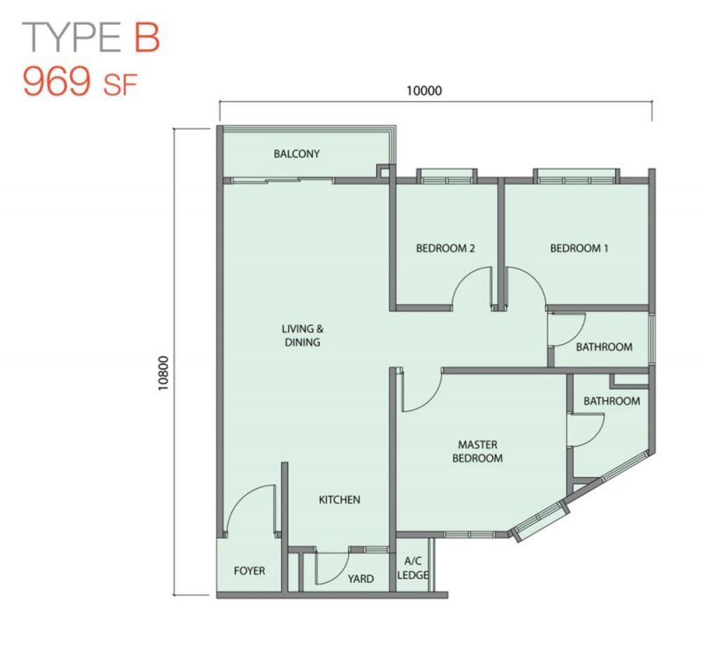 Zentro Residences Type B Floor Plan