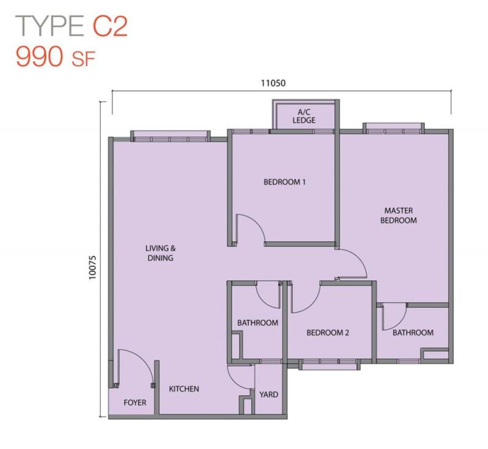 Zentro Residences Type C2 Floor Plan