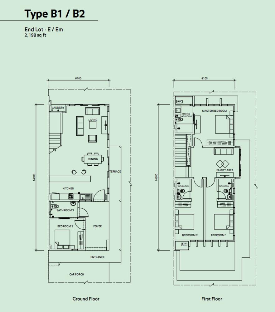 Elmina Valley Elmina Valley 2 Type B1/B2 - End Lot Floor Plan