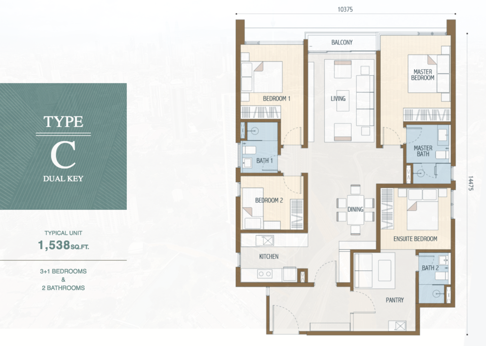 Duta Park Residences Type C (Dual Key) Floor Plan