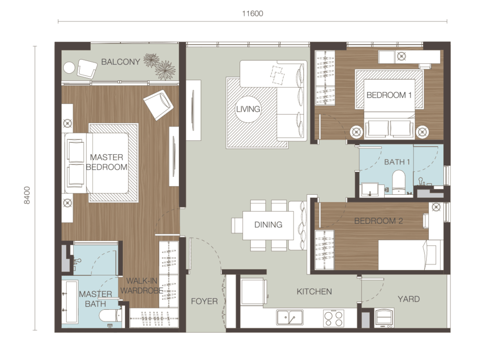 Ativo Suites Type D Floor Plan