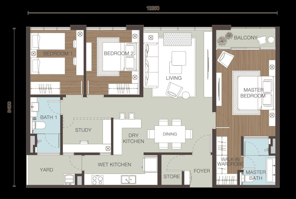 Ativo Suites Type E Floor Plan