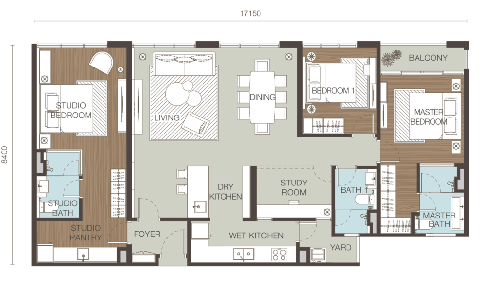 Ativo Suites Type F (Dual Key) Floor Plan