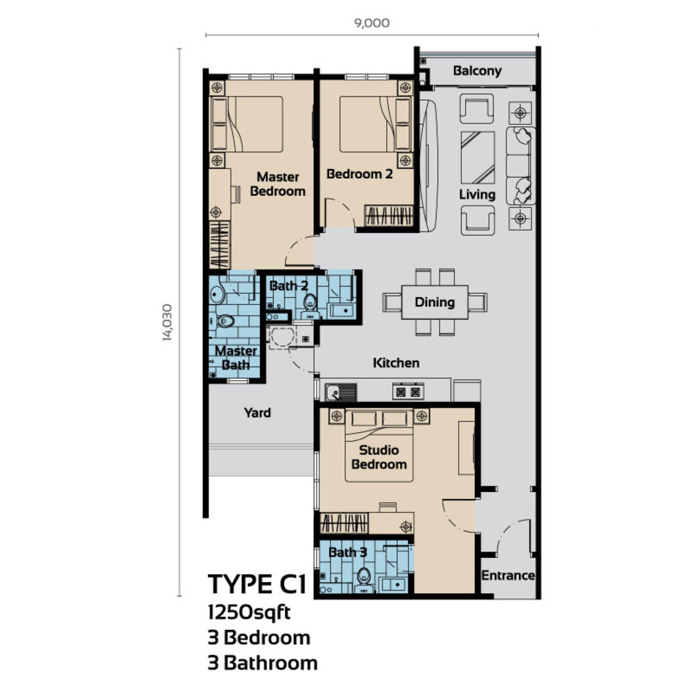 Platinum OUG Residence Type C1 Floor Plan
