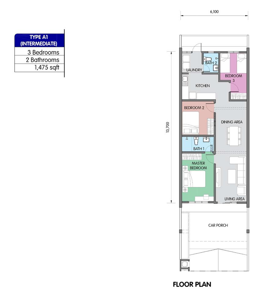PR1MA Homes @ Simpang Empat 2 Type A1 Floor Plan