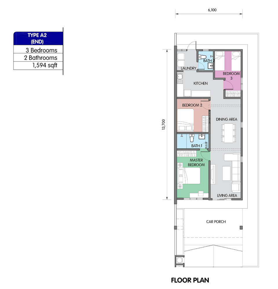 PR1MA Homes @ Simpang Empat 2 Type A2 Floor Plan