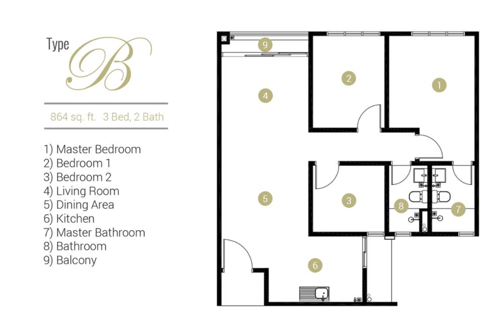 Far East Residence Type B Floor Plan