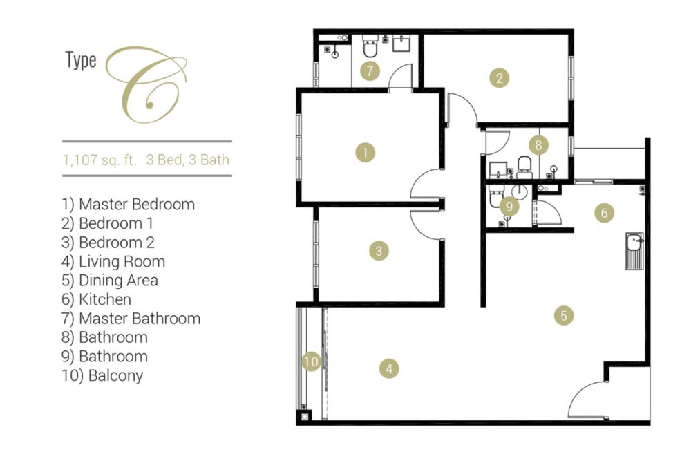 Far East Residence Type C Floor Plan