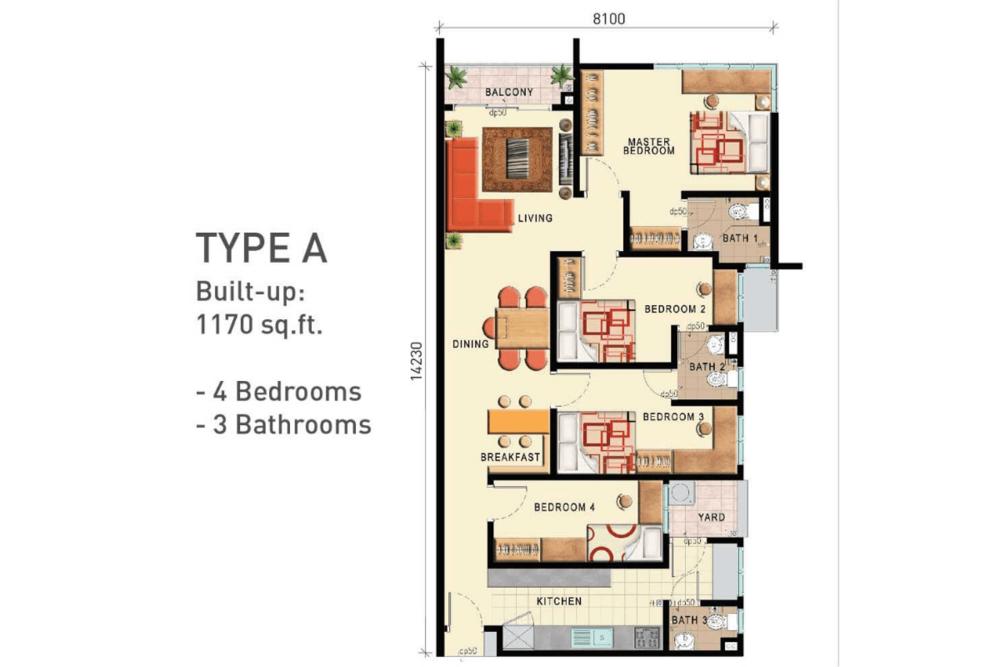 D'Seven Lagoon Perdana Type A Floor Plan
