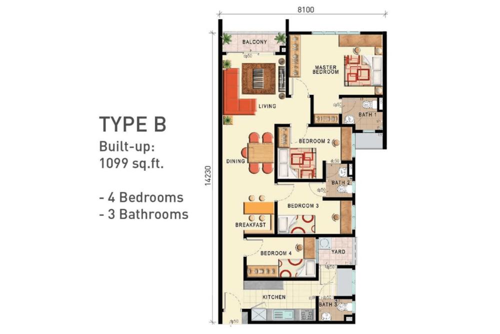 D'Seven Lagoon Perdana Type B Floor Plan