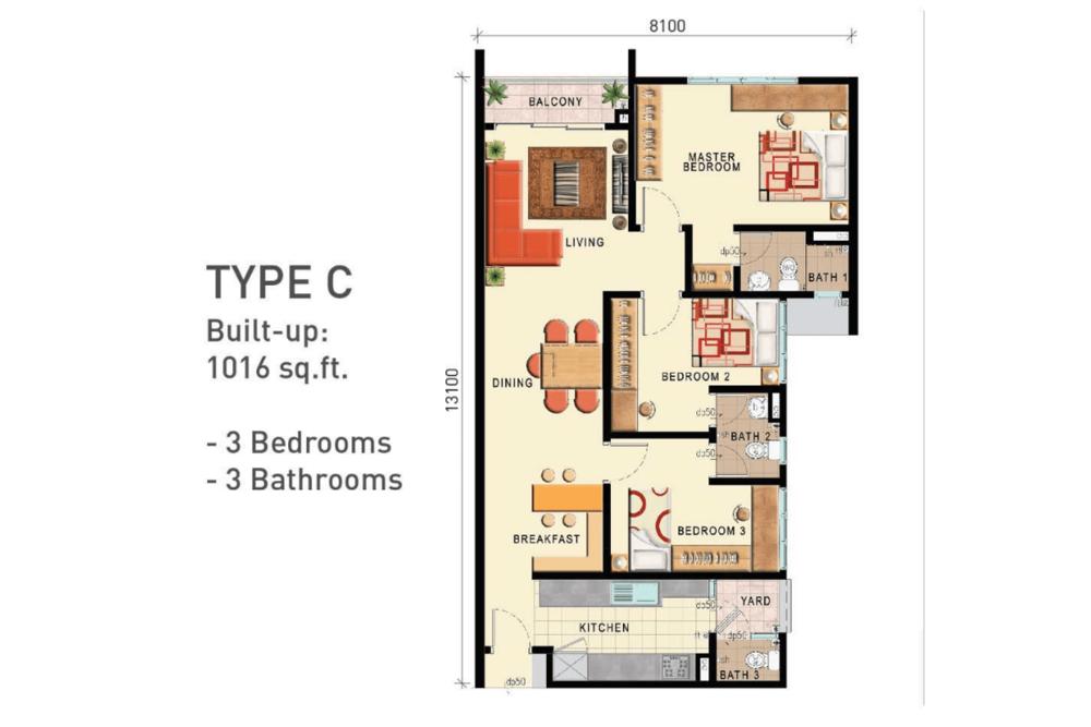 D'Seven Lagoon Perdana Type C Floor Plan