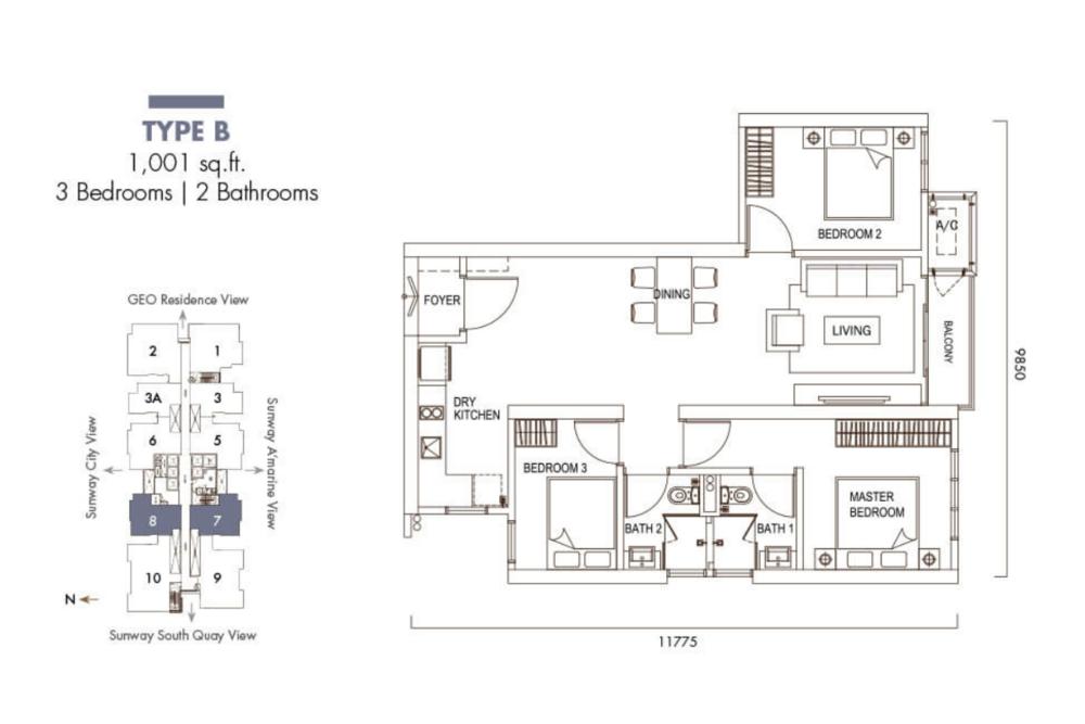 Sunway GeoLake Residences Type B Floor Plan