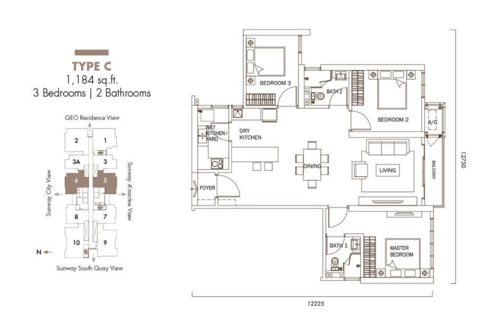 Sunway GeoLake Residences Type C Floor Plan