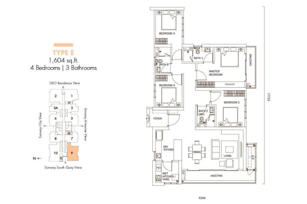 Sunway GeoLake Residences Type E Floor Plan