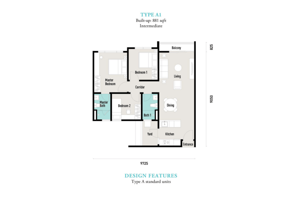 E'island Lake Haven Residence Type A1 Floor Plan