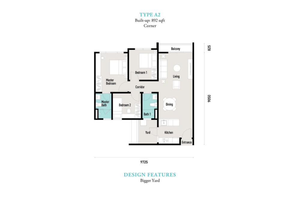 E'island Lake Haven Residence Type A2 Floor Plan