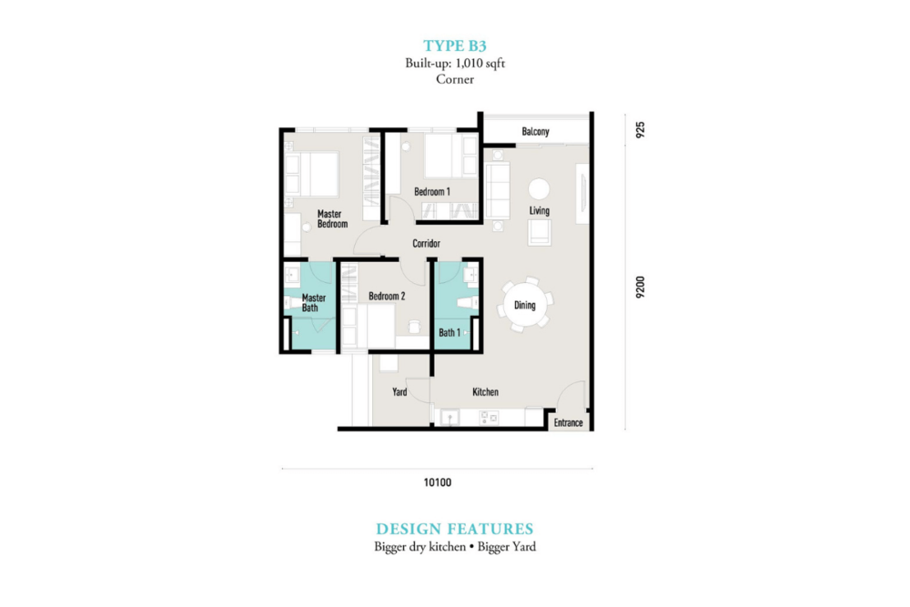 E'island Lake Haven Residence Type B3 Floor Plan