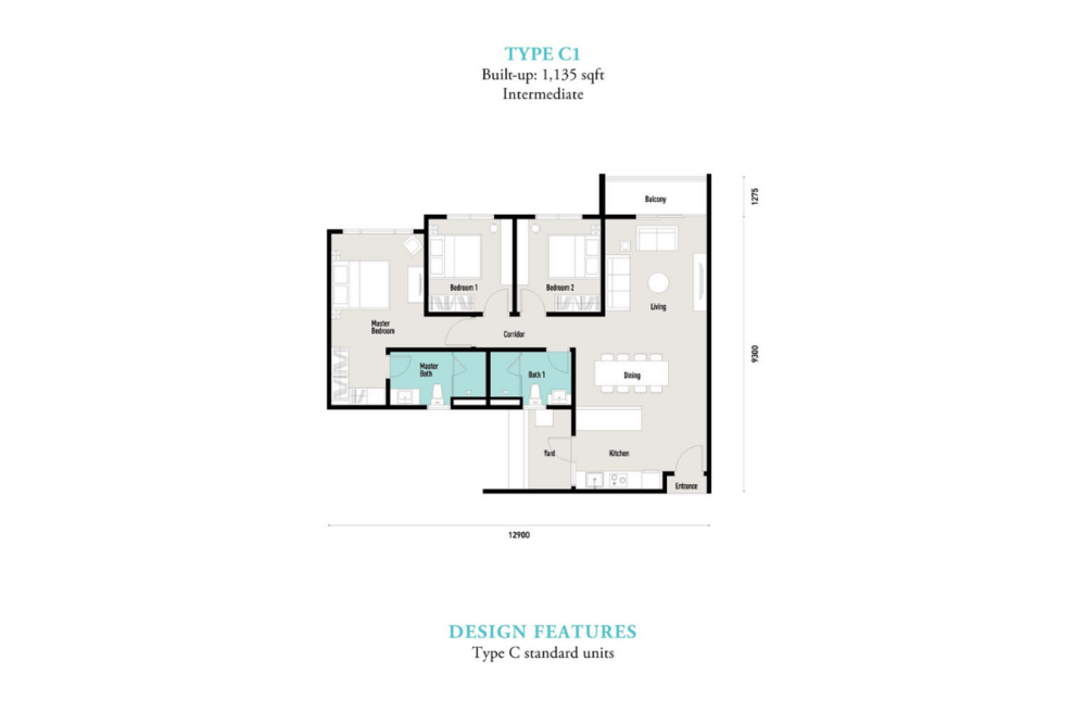 E'island Lake Haven Residence Type C1 Floor Plan