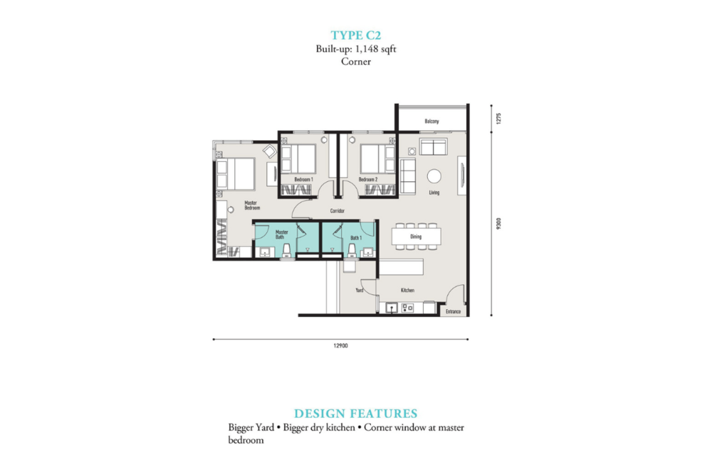 E'island Lake Haven Residence Type C2 Floor Plan