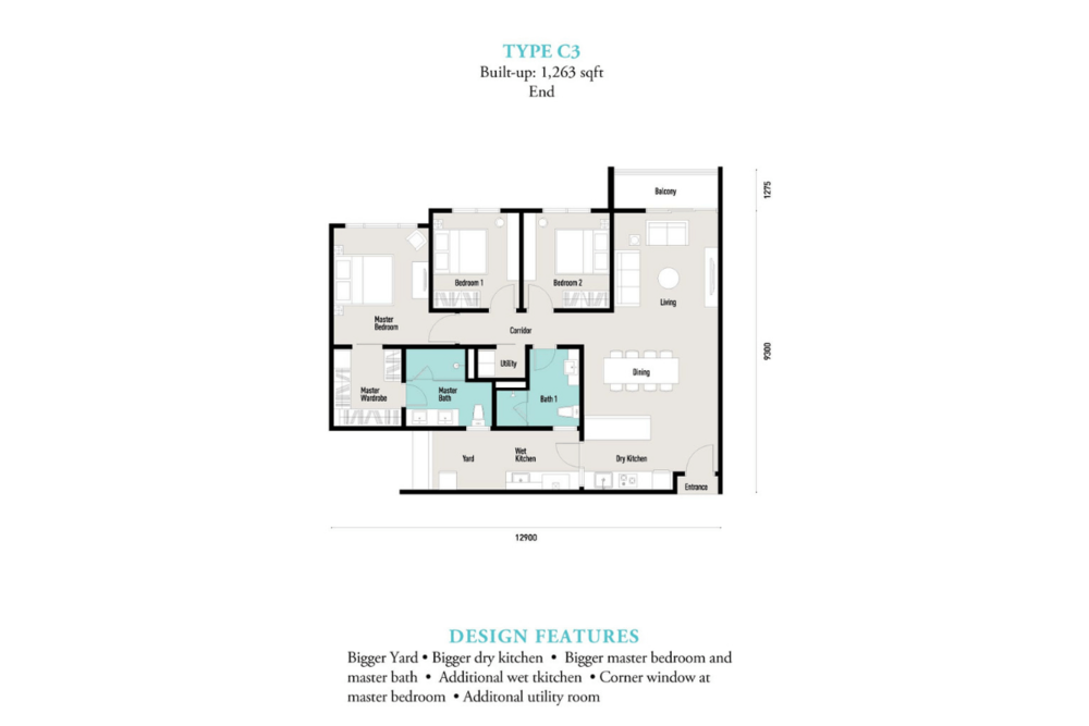 E'island Lake Haven Residence Type C3 Floor Plan