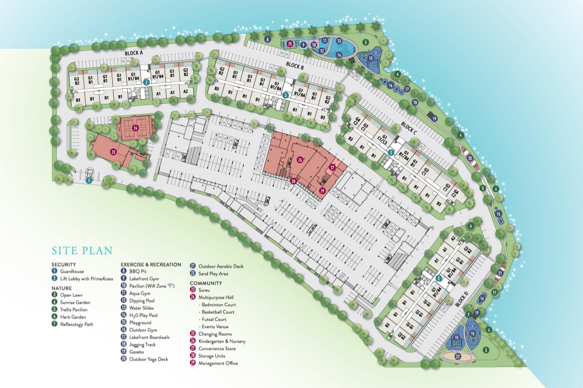 Site Plan of E'island Lake Haven Residence