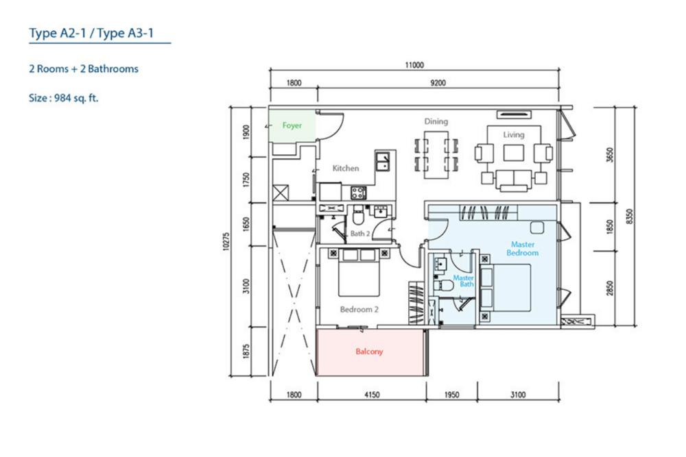 The Como Type A2-1/A3-1 Floor Plan