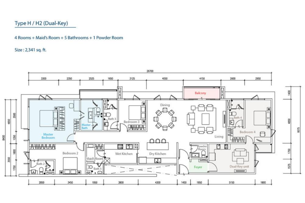The Como Type H/H2 (Dual-Key) Floor Plan
