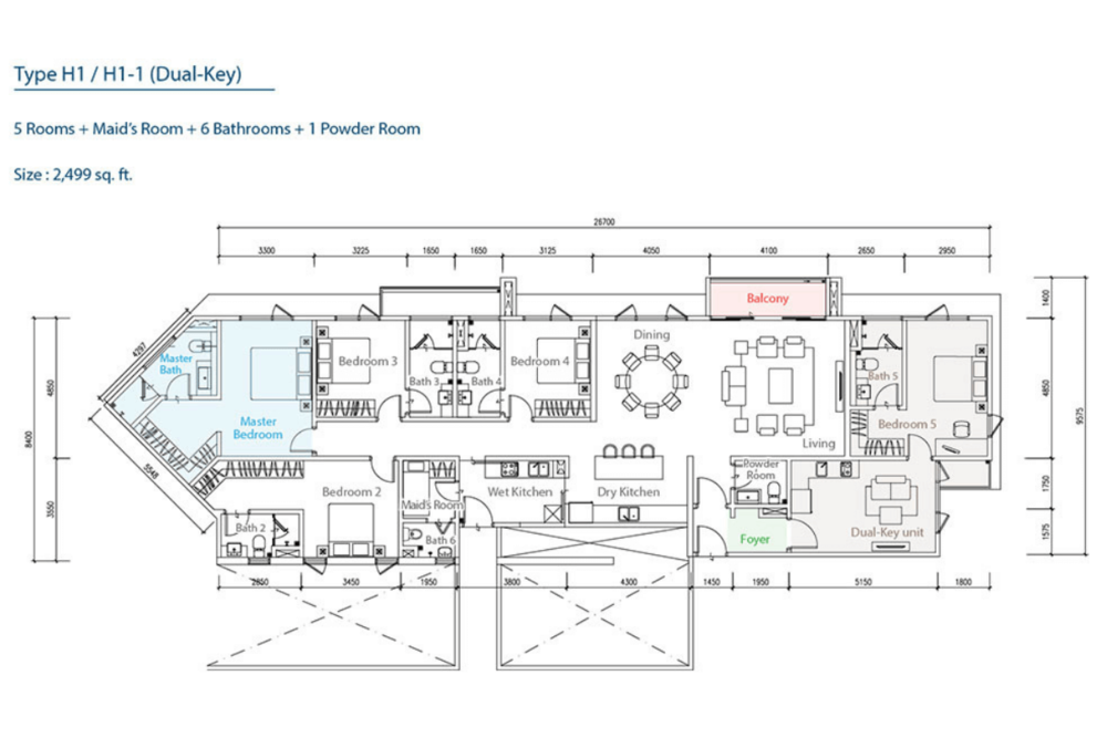 The Como Type H1/H1-1 (Dual-Key) Floor Plan
