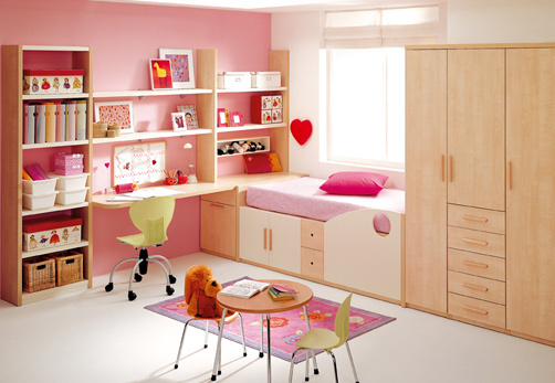 Bright neat pink girls bedroom large