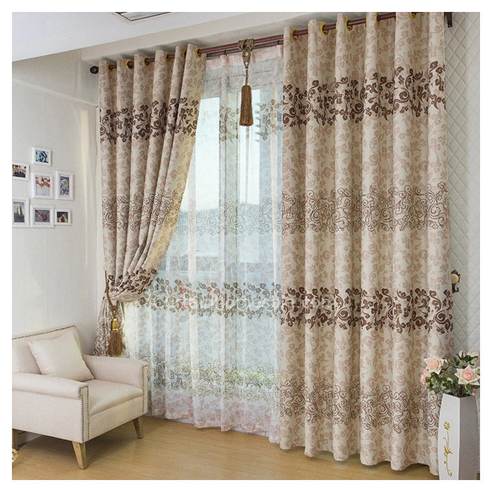 Asian leaf brown color blackout curtain and window treatments chs1016 1 large