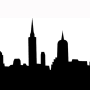 Silhouette black white of city with houses and towers djzq21 clipart small