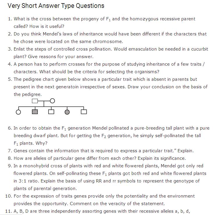 Important Questions Class 12 Biology Chapter 5 Principles Inheritance Variation Part 1
