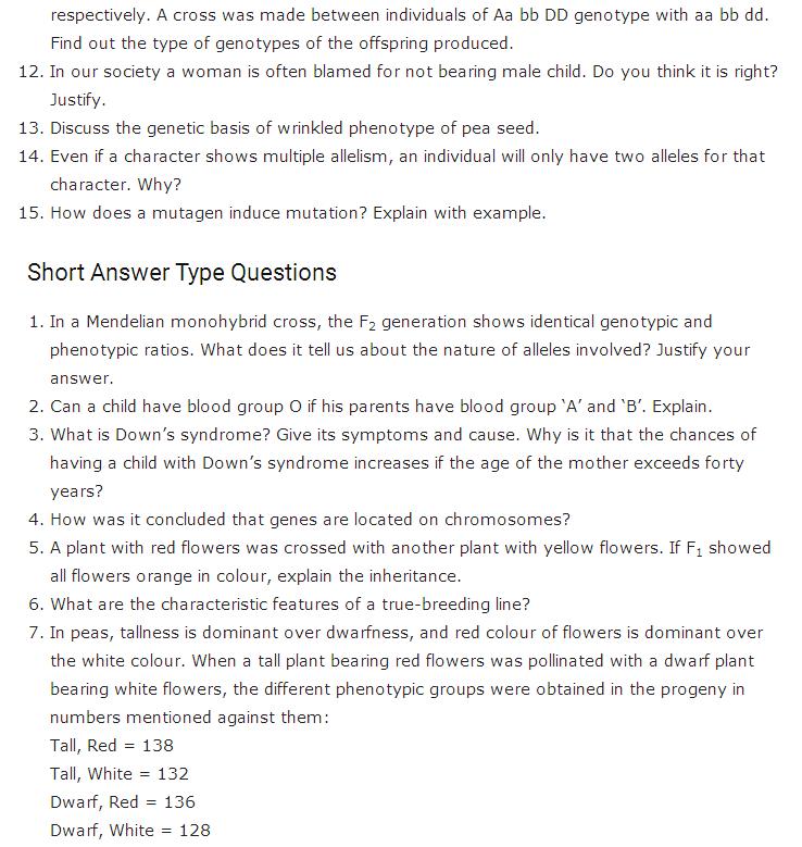 Important Questions Class 12 Biology Chapter 5 Principles Inheritance Variation Part 2