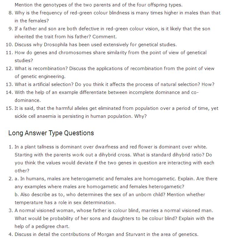 Important Questions Class 12 Biology Chapter 5 Principles Inheritance Variation Part 3