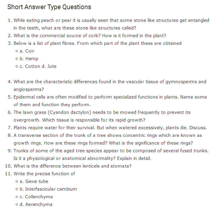 Important Questions Class 11 Biology Chapter 6 Anatomy Flowering Plants Part 2