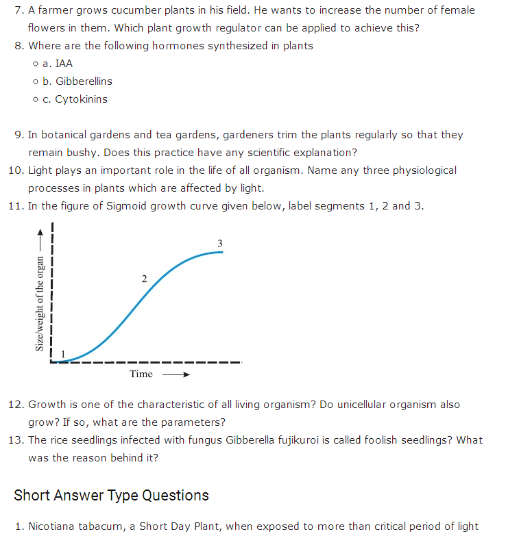 Important Questions Class 11 Biology Chapter 15 Plant Growth Development Part 2