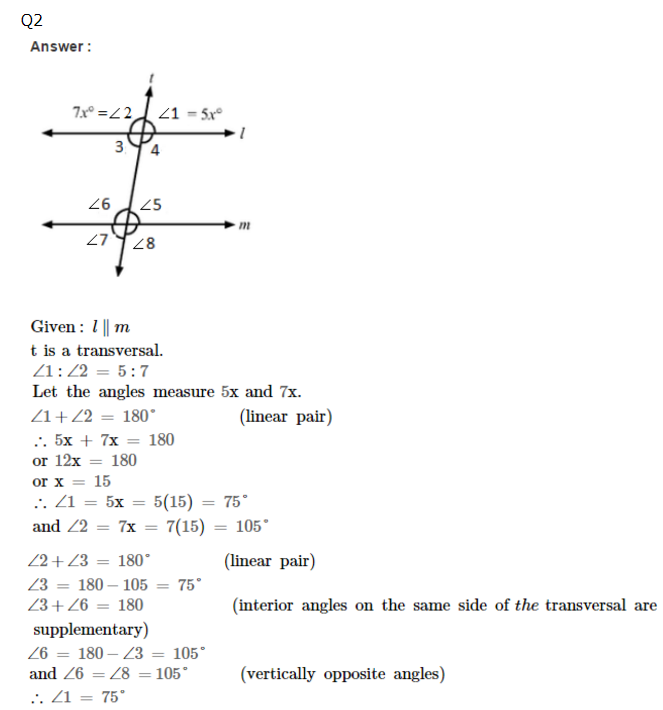 RS Aggarwal Solutions for Class 7th Maths Properties of Parallel – Properties of Parallel Lines Worksheet