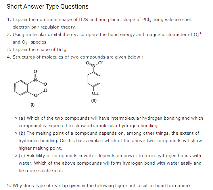 important questions class 11 chemistry chapter 4 chemical bonding molecular structure 1