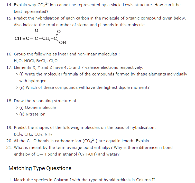 important questions class 11 chemistry chapter 4 chemical bonding molecular structure 3