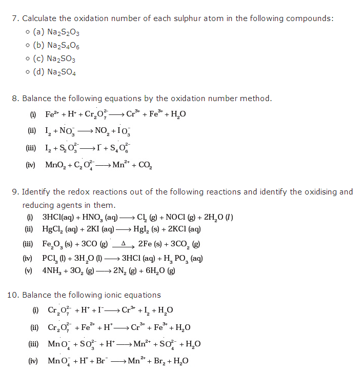 important questions class 11 chemistry chapter 8 redox reaction 2