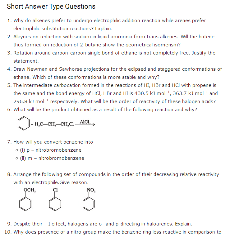 important questions class 11 chemistry chapter 13 hydrocarbons 1
