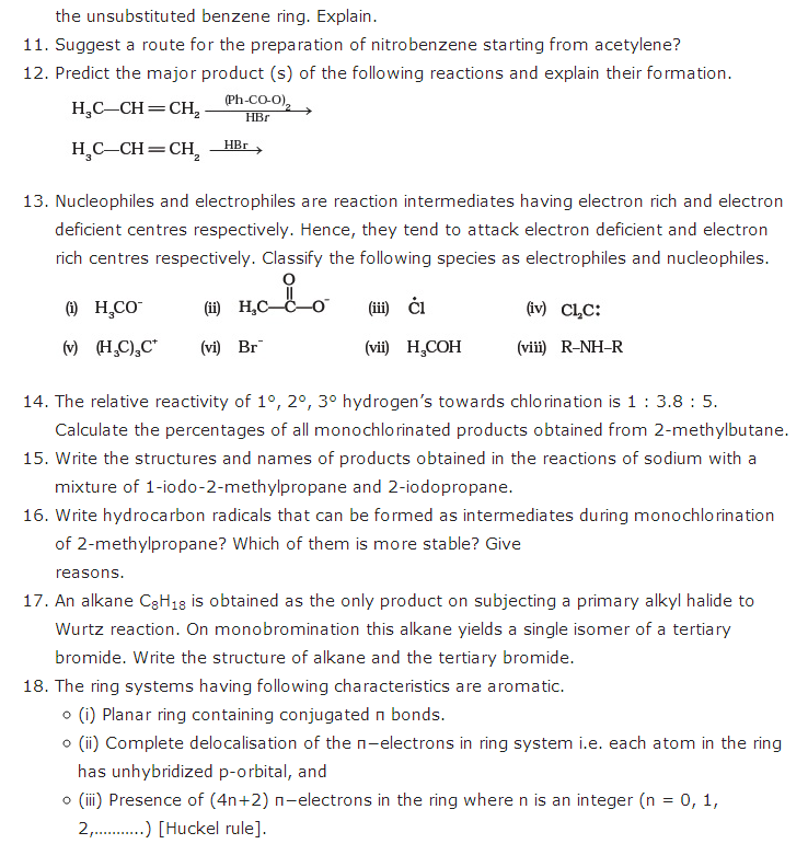 important questions class 11 chemistry chapter 13 hydrocarbons 2