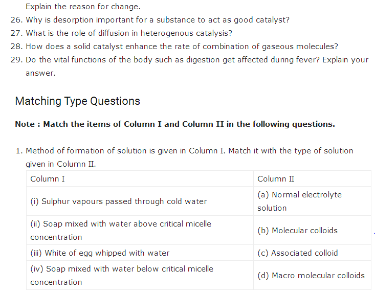 Important questions for class 12 Chemistry Chapter 5 Surface Chemistry 2