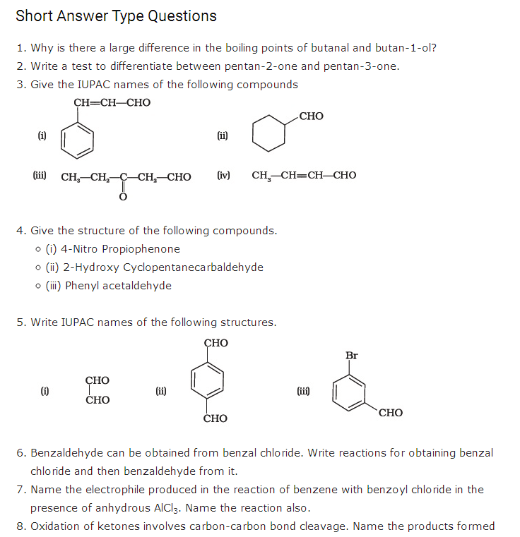 important questions class 12 chemistry chapter 12 aldehydes ketones carboxylic acids 1