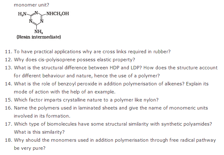 important questions class 12 chemistry chapter 15 polymers 2