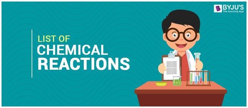 list chemical reaction